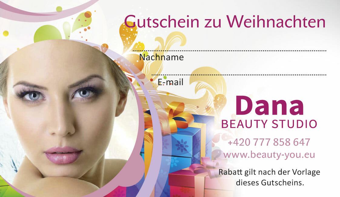 Geschenkgutscheine zu Weihnachten für Fettabsaugung und Faltenbehandlung ohne OP, Dana Clinic, Prag 9.